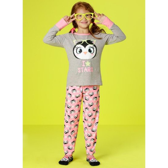 81e288c898 Pijama Infantil Puket Manga Longa Visco Pinguim Estrela Feminina -  Cinza+Rosa