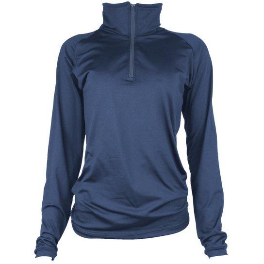 Camisa Térmica Feminina Segunda Pele Meio Zíper Thermo Premium -  Azul+Marinho cc48e2bee8249