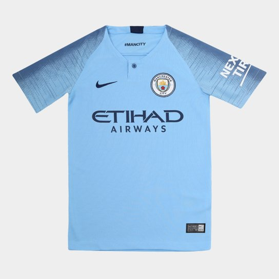 4ae46be3a06d6 Camisa Manchester City Infantil Home 2018 s n° - Torcedor Nike - Azul+