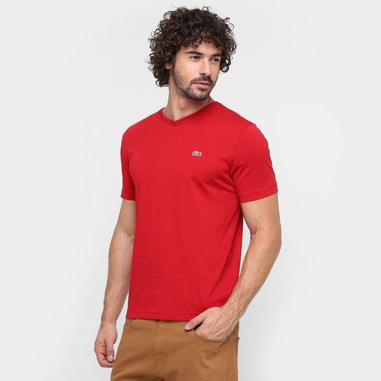 Camiseta Lacoste Gola V Masculina - Vermelho Escuro - Compre Agora ... d9e38acc89