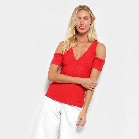 0692b7cbf Blusa Colcci Abertura Ombro Canelada Feminina - Vermelho