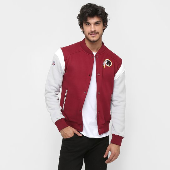 Moletom New Era NFL Fleece Varsity Washington Redskins C  Capuz - Vermelho  Escuro fc8f52301f9