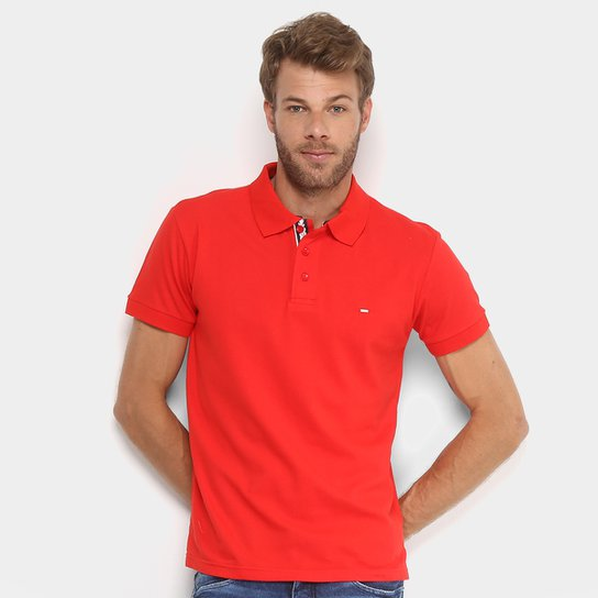 87ae4291a3 Camisa Polo Gangster Piquet com Elastano Masculina - Vermelho Escuro ...