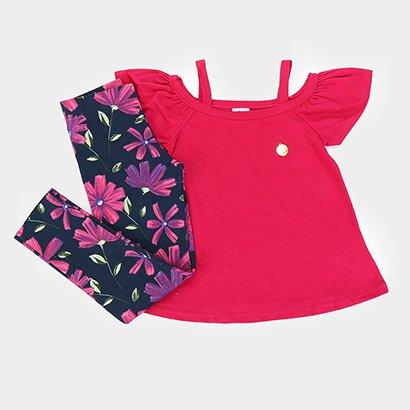 Conjunto Infantil Elian Blusa Lisa Calça Cotton Floral Feminina
