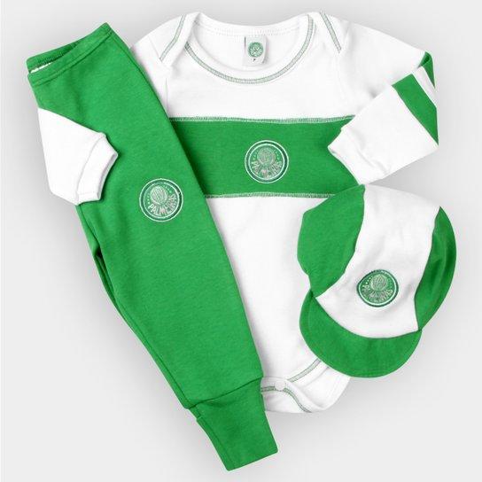 Conjunto Palmeiras Infantil c  3 Peças - Verde e Branco - Compre ... 191ff58e9a398