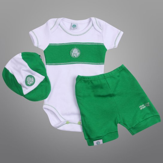 5ec753db1b Conjunto Palmeiras Infantil Verão c  3 peças Masculino - Verde+Branco