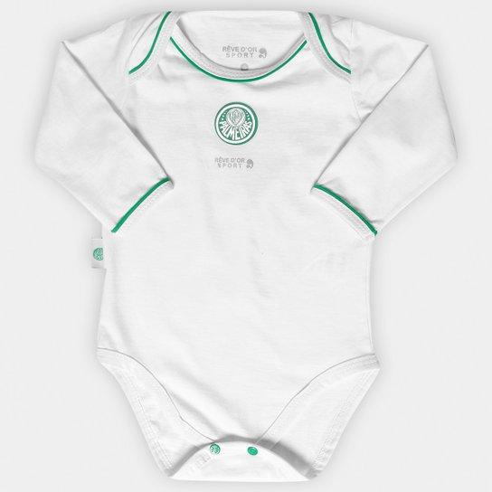 Body Americano Vivos Palmeiras Bebê Manga Longa - Branco e Verde ... 2d0f6fca34a12
