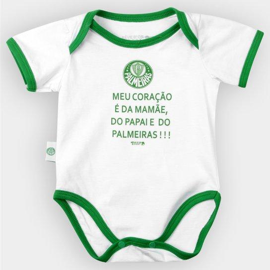 Body Palmeiras Bebê Meu Coração É... - Verde e Branco - Compre Agora ... ad59bd10384df