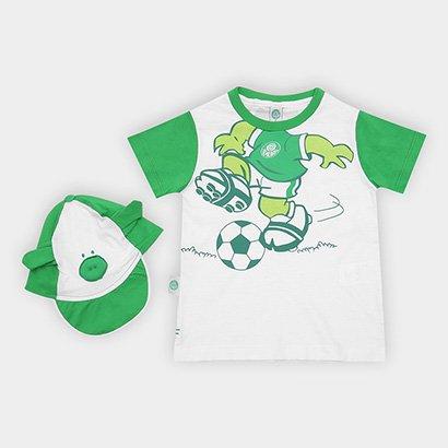 Conjunto Bebê Palmeiras Camiseta e Boné Porquinho