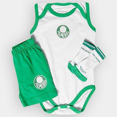 Conjunto Palmeiras Infantil Body Regata Shorts e Meia