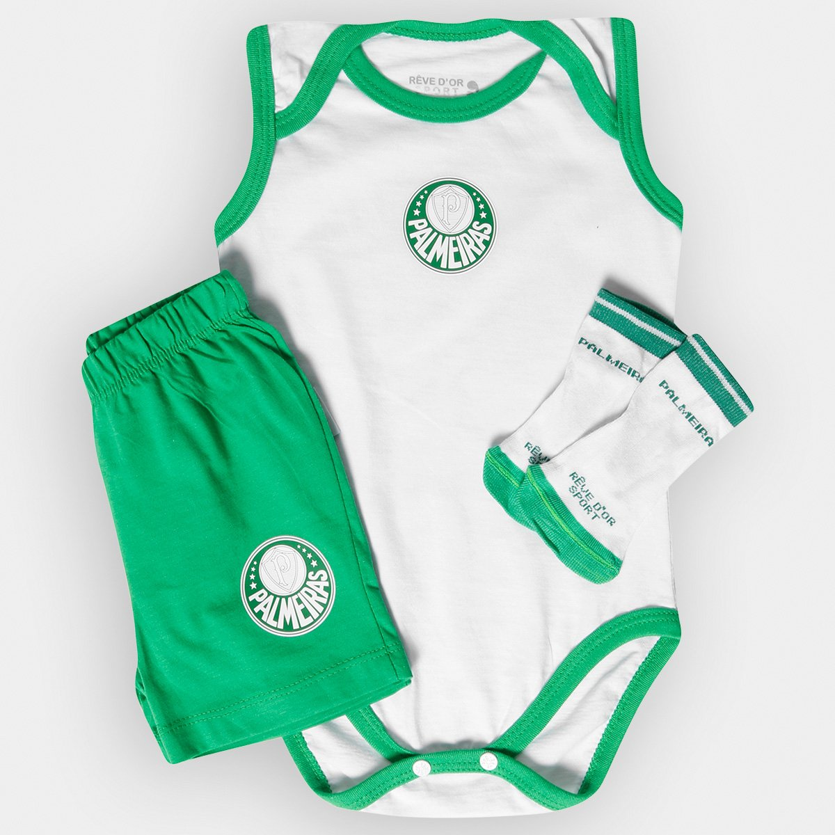 a2cabc6f2 Conjunto Palmeiras Infantil Body Regata Shorts e Meia