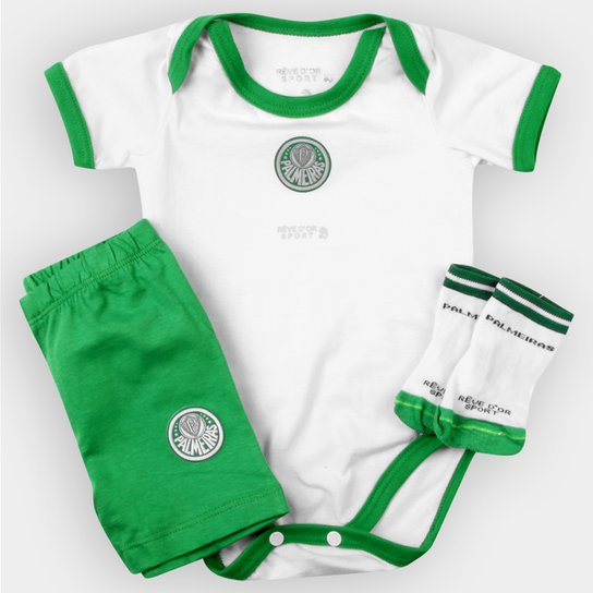 51b7d0ee46 Conjunto Palmeiras Bebê Body Shorts e Meia - Verde e Branco - Compre ...