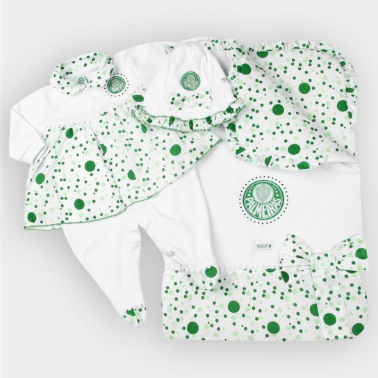 292080c1c3f6 Kit Maternidade Palmeiras Bebê Vestido - Verde+Branco