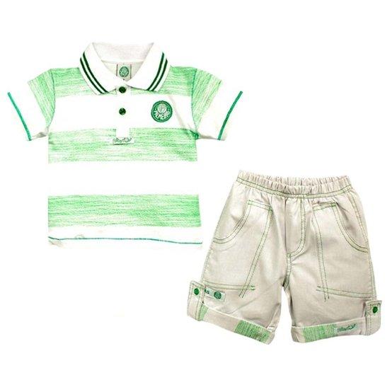 d1784eae39 Conjunto Polo Shorts Meia Malha Oxford Menino Palmeiras Reve Dor -  Verde+Branco