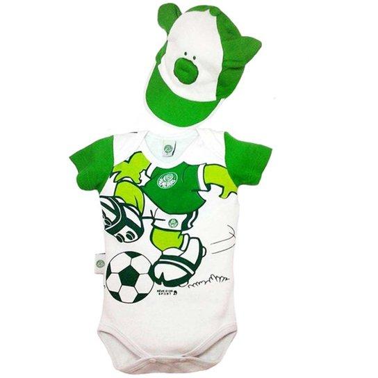Body Porquinho Com Boné Suedine Unissex Palmeiras Reve Dor - G - Verde+ Branco 2a98d3d8e65ce