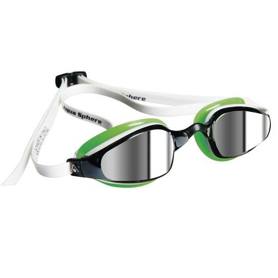 f4295a8b0647d Óculos de Natação Aqua Sphere K180 Michael Phelps Lente Espelhada -  Verde+Branco