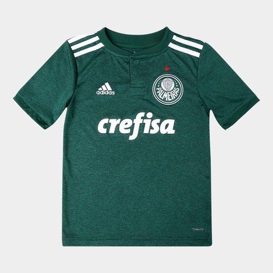 b10c09f52 Camisa Palmeiras Infantil I 2018 s/n° Torcedor Adidas - Verde+Branco