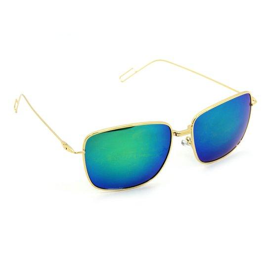 9fe70624b Óculos Bijoulux de Sol Quadrado Espelhado - Dourado+Azul