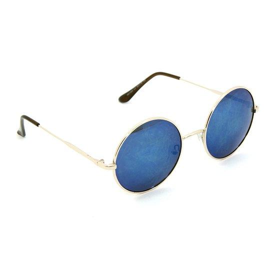 d81a33283 Óculos Bijoulux de Sol Redondo Espelhado - Dourado+Azul