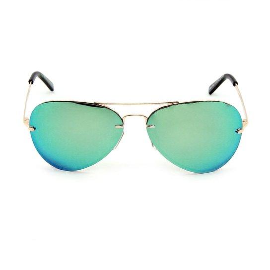 858f804de Óculos Bijoulux de Sol Aviador Espelhado - Dourado+Azul