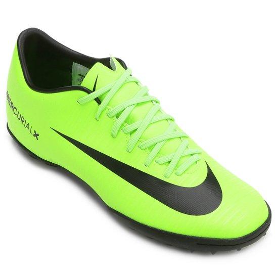 Chuteira Society Nike Mercurial Victory 6 TF - Verde e Preto ... 72cdb613ec479