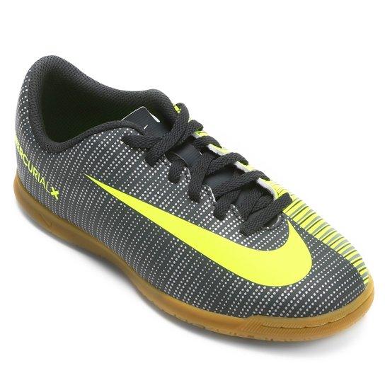 Chuteira Futsal Infantil Nike Mercurial X Vortex 3 CR7 IC - Preto+Verde  Limão 81f05bb85469f