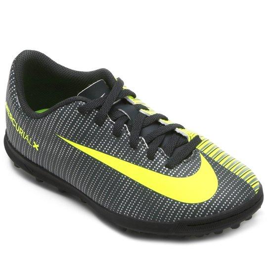ee423ff2d8516 Chuteira Society Infantil Nike Mercurial X Vortex 3 CR7 TF - Preto+Verde  Limão