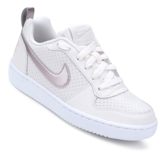 0658537449c Tênis Infantil Nike Court Borough Low Feminino - Branco e Bronze ...