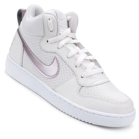 e220f343c6b Tênis Couro Nike Court Borough Mid - Branco e Rosa - Compre Agora ...
