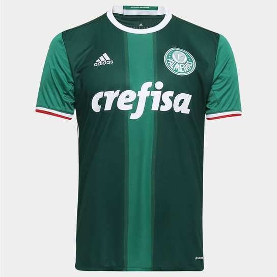 Camisa Palmeiras I 2016 s nº Torcedor Adidas Masculina - Verde+Branco d96037a38251d