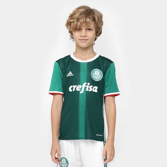 Camisa Palmeiras Infantil I 2016 s nº - Torcedor Adidas - Verde+Branco 913b2ae6de801