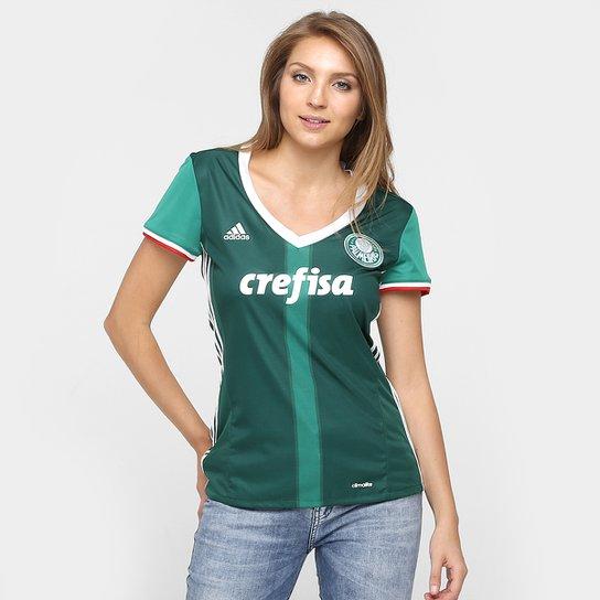 25d7ceb24caf0 Camisa Palmeiras I 2016 s nº - Torcedor Adidas Feminina - Verde+Branco