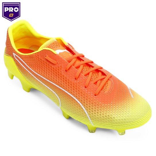 8acf78a1ae Chuteira Campo Puma Evospeed Fresh FG Masculina - Amarelo+Laranja