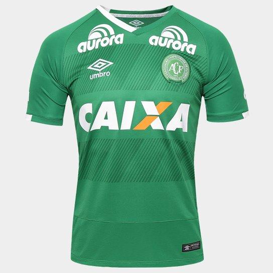 44fe2b1ed0 Camisa Chapecoense I 2016 s/nº Torcedor Umbro Masculina - Verde+Branco