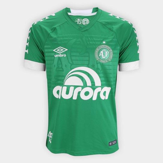 cb10200a3542f Camisa Chapecoense I 2018 s/n° Jogador Umbro Masculina - Verde+Branco