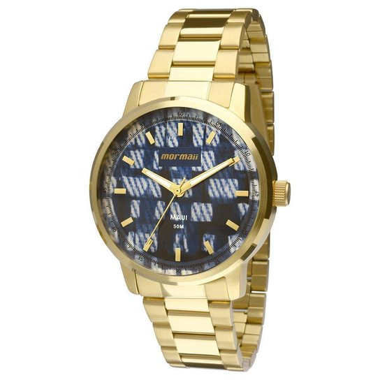 Relógio Mormaii Analógico MO2036HU-4A Feminino - Dourado e Azul ... 34de6d177e