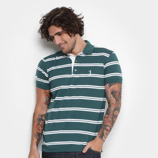 Camisa Polo Aleatory Malha Fio Tinto Masculina - Verde e Branco ... 3040e18bed581