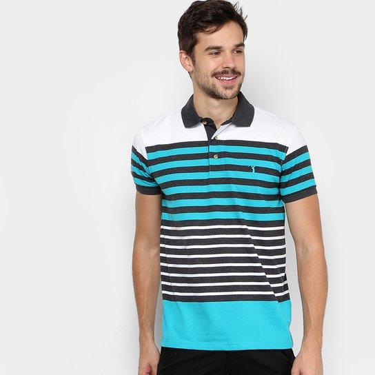 Camisa Polo Aleatory Listrada Fio Tinto Logo Masculina - Azul+Branco ca42a955efed3