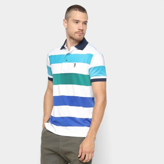 068f719ff Camisa Polo Aleatory Estampa Listrada Masculina - Verde e Branco ...