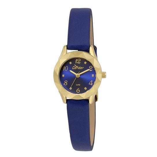 Relógio Condor Feminino Mini - Dourado e Azul - Compre Agora   Netshoes 5387fc5102