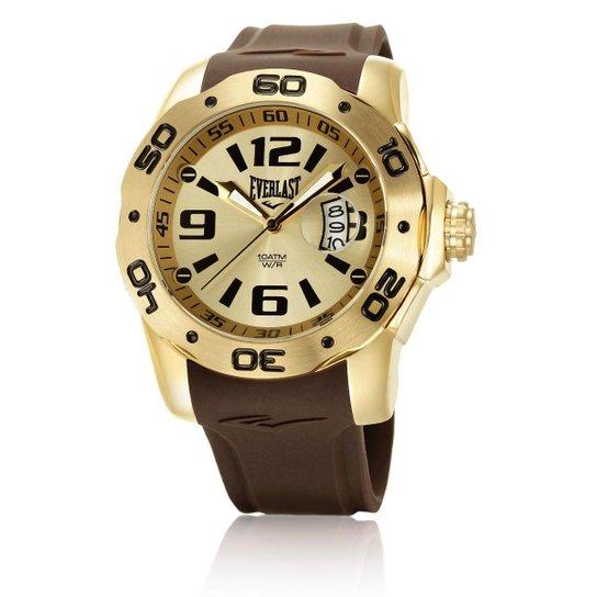 c89f4cf420c Relógio Pulso Everlast E530 Pulseira Silicone - Dourado e Marrom ...