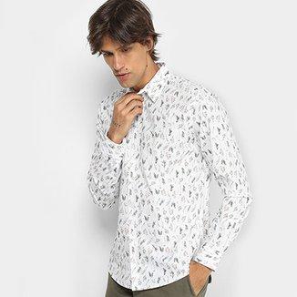 Camisa Colcci Manga Longa Estampa Folhagem Slim Masculina bc99ec6e458be