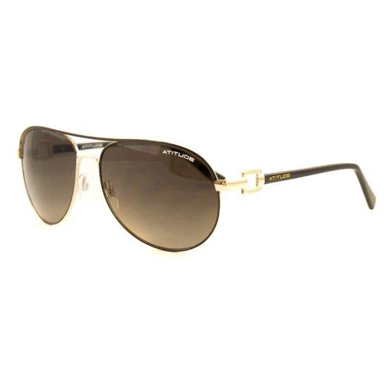 7d46298cbca2f Óculos Atitude De Sol - Dourado+Marrom