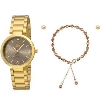 Kit Relógio Allora Feminino Perolas ba1873f6fc