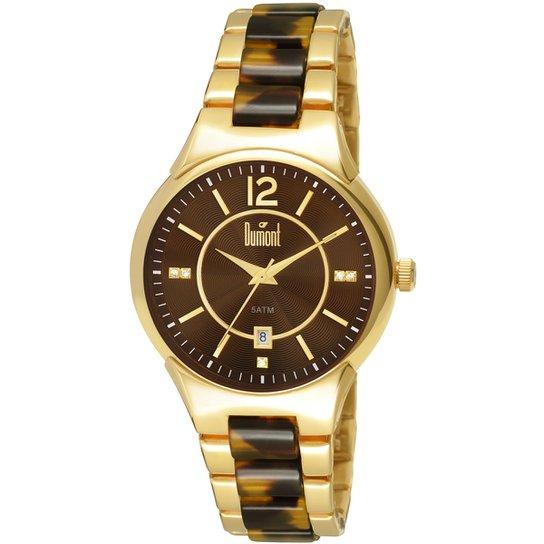 f029c7eeee7 Relógio Dumont Analógico Pedras - Dourado+Marrom