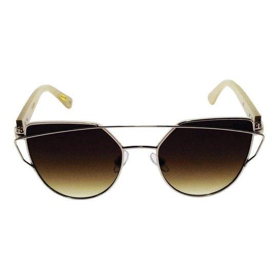 e5947c08a3a67 Óculos de Sol Khatto Cat Bamboo Feminino - Dourado e Marrom - Compre ...