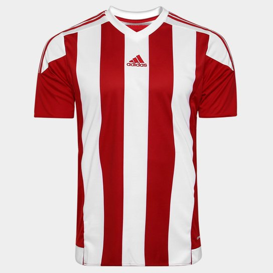 Camisa Adidas Striped 15 Masculina - Vermelho e Branco - Compre ... 7d79cbb4073ea