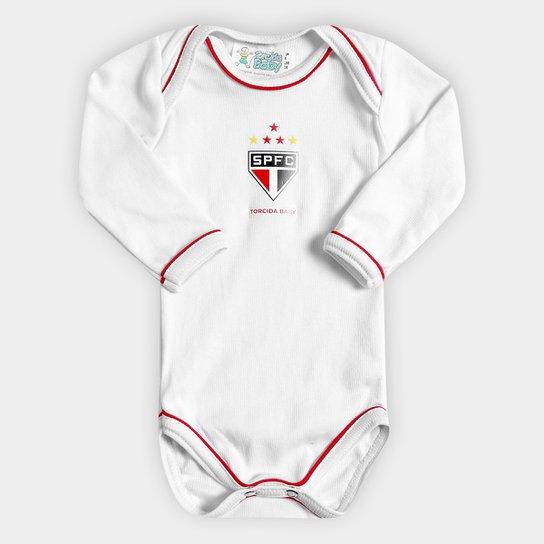06638b4809 Body São Paulo Infantil Torcida Baby Avulso Longo - Vermelho+Branco