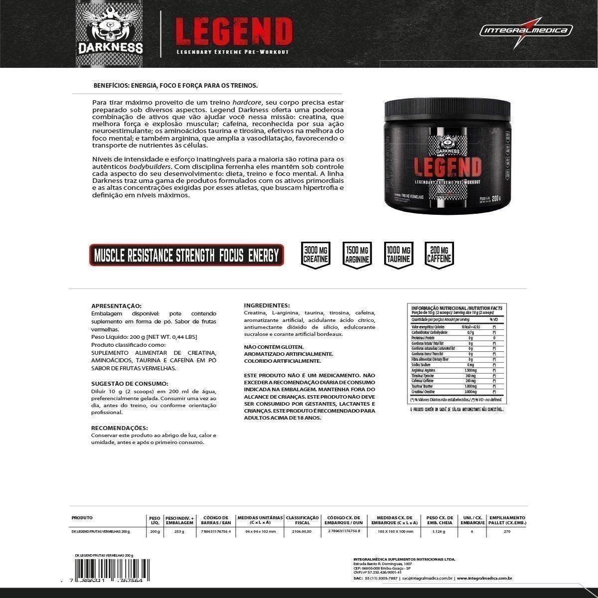 Pré-Treino Legend Darkness 200g - IntegralMédica - 1
