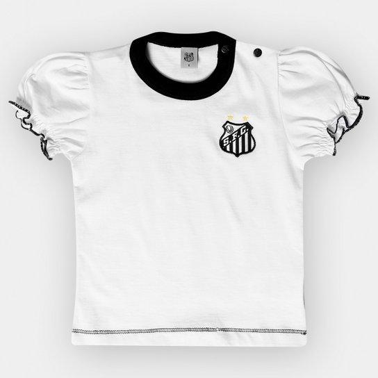 Camiseta Santos Infantil Baby Look Cores Clube - Branco e Preto ... 1128ece76a285